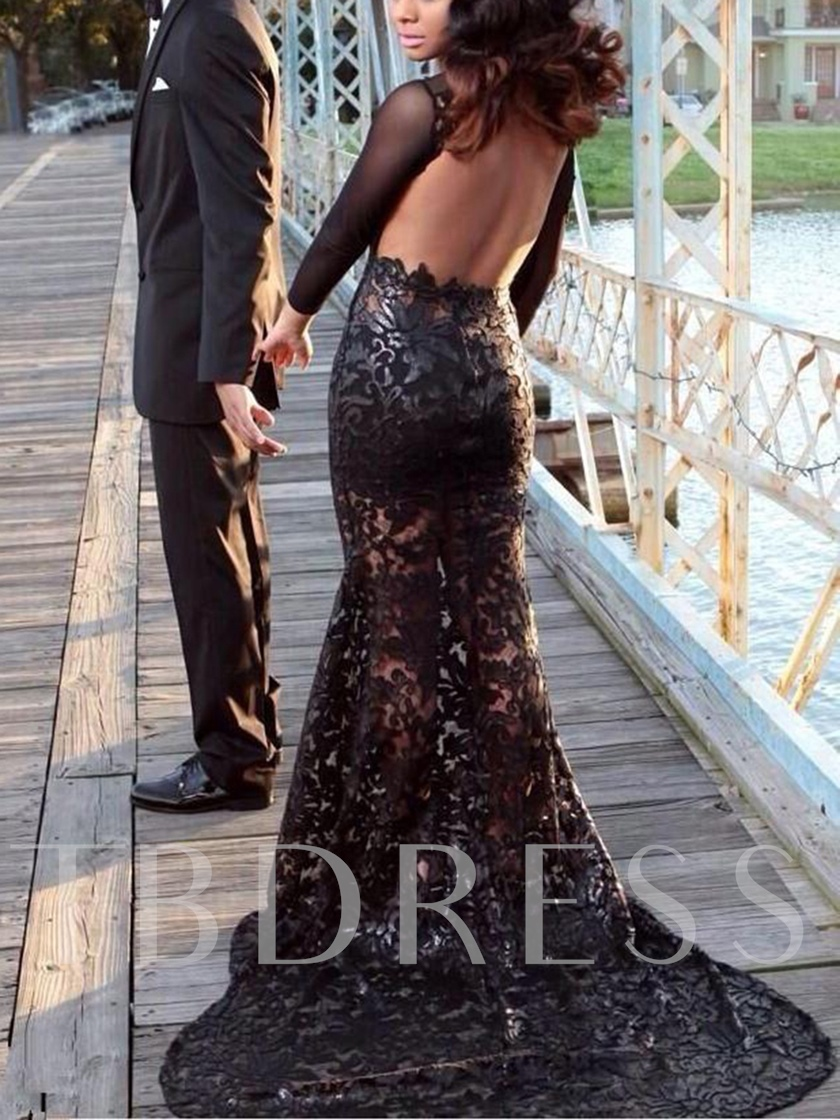 Long Sleeves Backless Lace Mermaid Evening Dress 2020