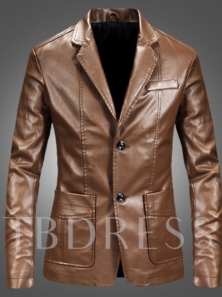 Lapel Plain Pocket Style Men's Leather Jacket