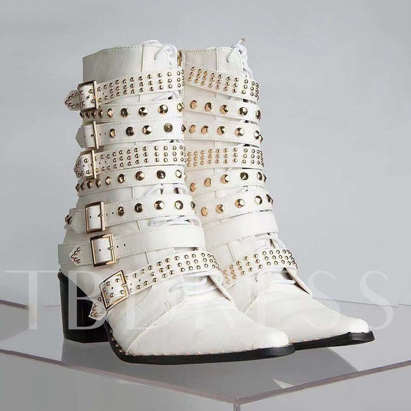 Customized Chunky Heel Hasp Square Toe Buckle Ankle Boots