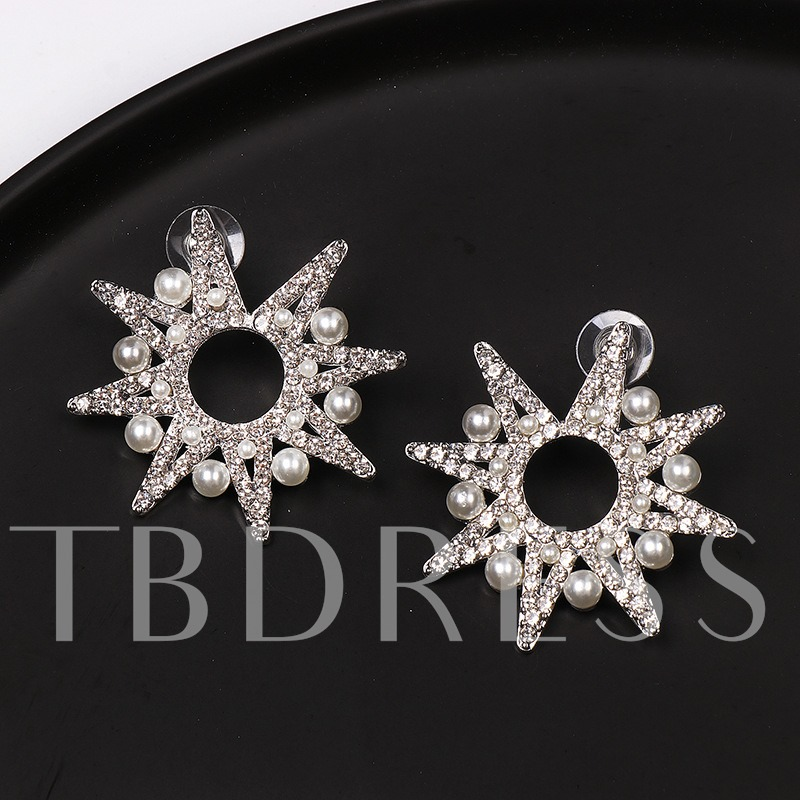 Diamante Alloy European Party Stud Earrings