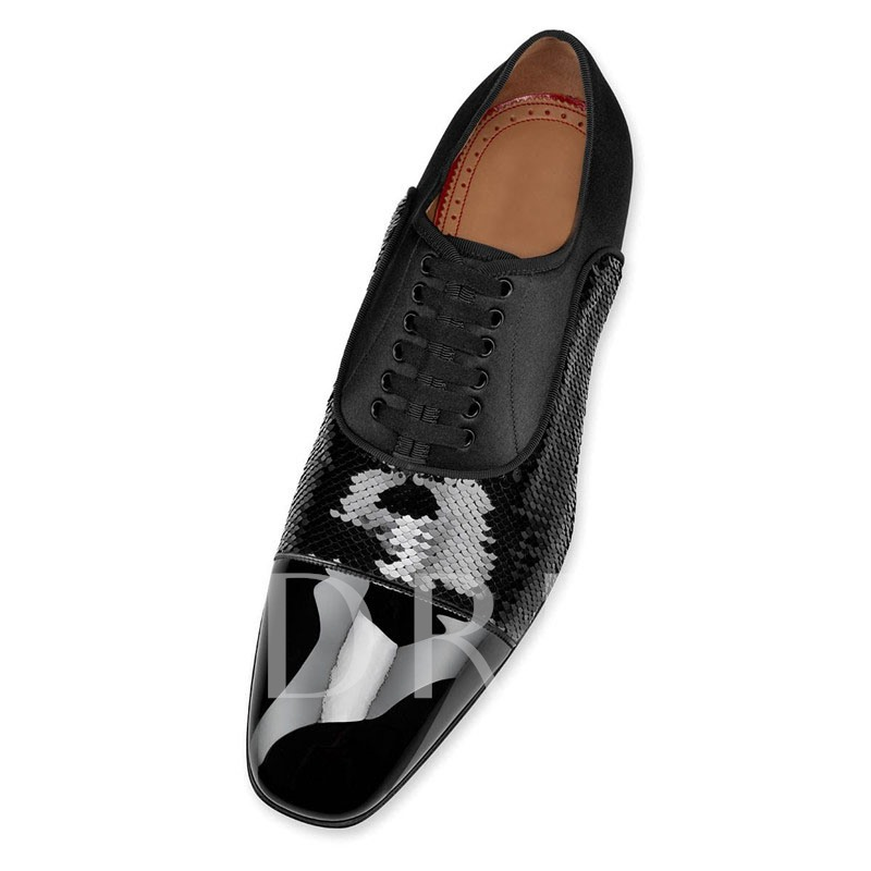 Customized Lace-Up Patent Leather Men's Prom Shoes
