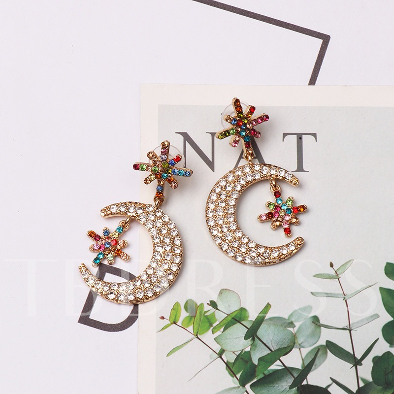 Romantic Moon Star Alloy Diamante Party Earrings