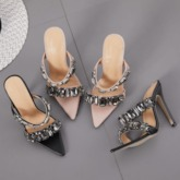 Rhinestone Slip-On Stiletto Heel Sandals