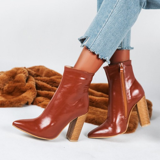 Pointed Toe Plain Side Zipper Chunky Heel Casual Boots