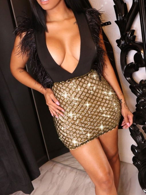 Sequins Above Knee Sleeveless V-Neck Bodycon Women's Dress