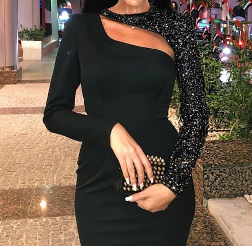 Long Sleeve Stand Collar Mid-Calf Sequins Sexy Women's Dress