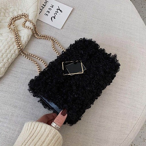 Chain Plain Rectangle Winter Fluffy Crossbody Bags