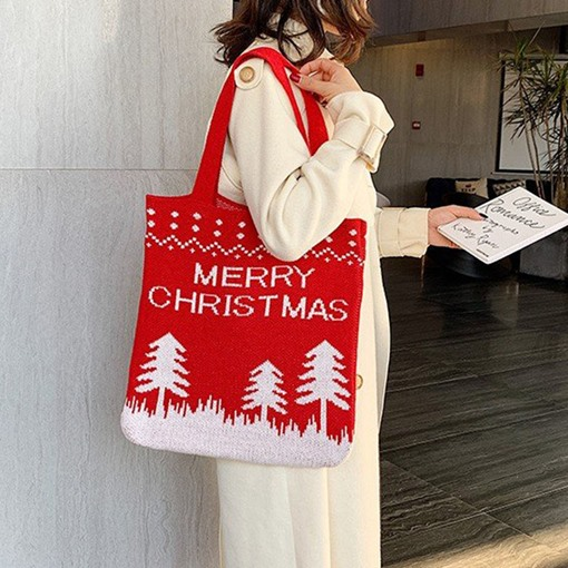 Christmas Geometric Print Rectangle Shoulder Bags