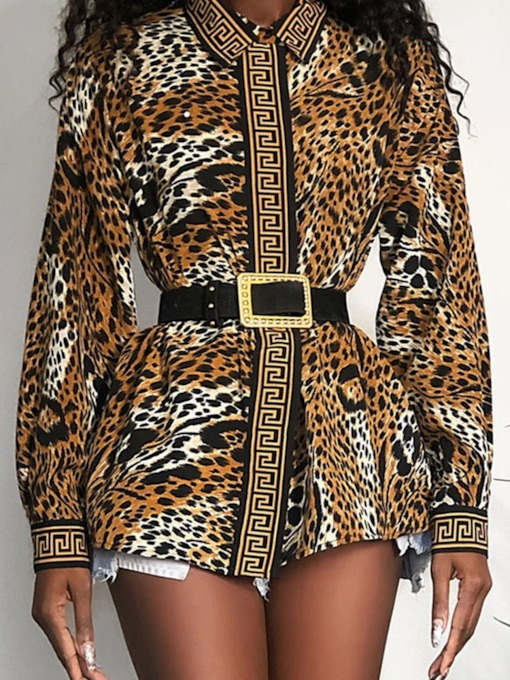 Leopard Lapel Regular Print Mid-Length Women's Blouse