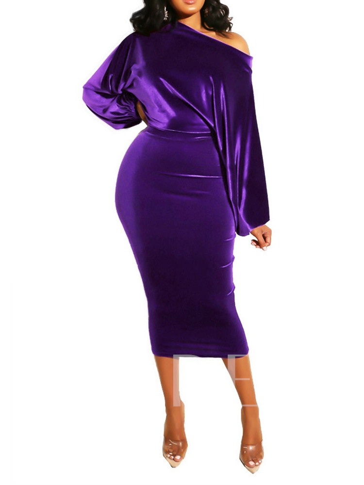 Long Sleeve Mid-Calf Oblique Collar Pencil Women's Dress