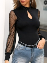 Sexy Patchwork Long Sleeve Women's Blouse