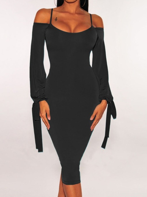 Lace-Up Mid-Calf Long Sleeve Casual Women's Dress