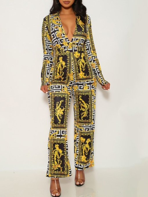 African Fashion Dashiki Print Full Length Casual Slim Women's Jumpsuit