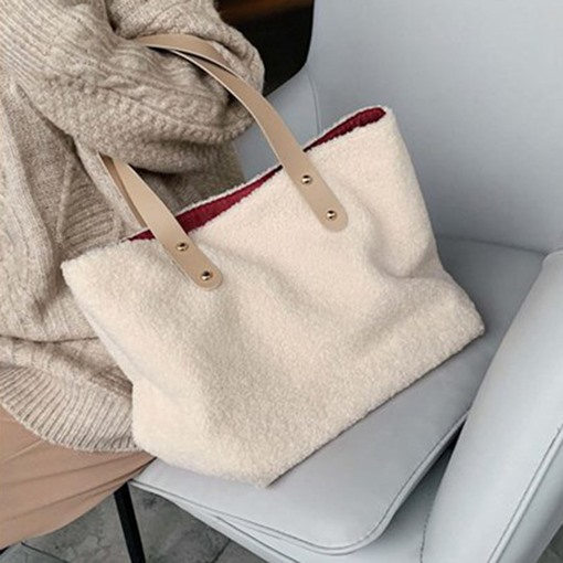 Plain Rectangle Winter Women's Tote Bags