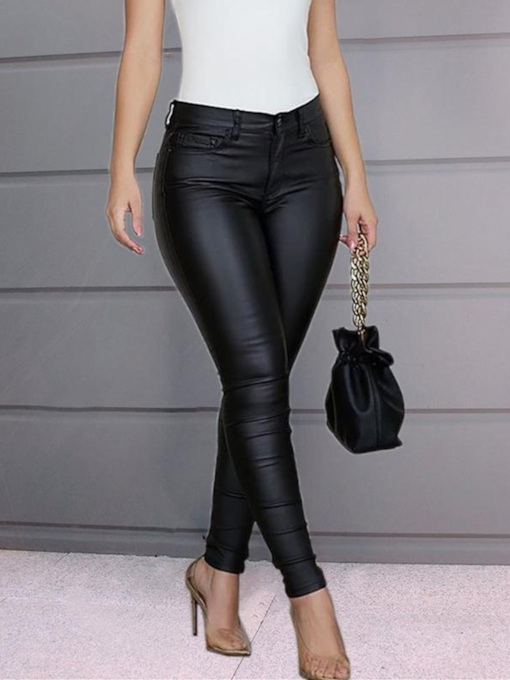 Plain Slim Pencil Pants Women's Casual Pants