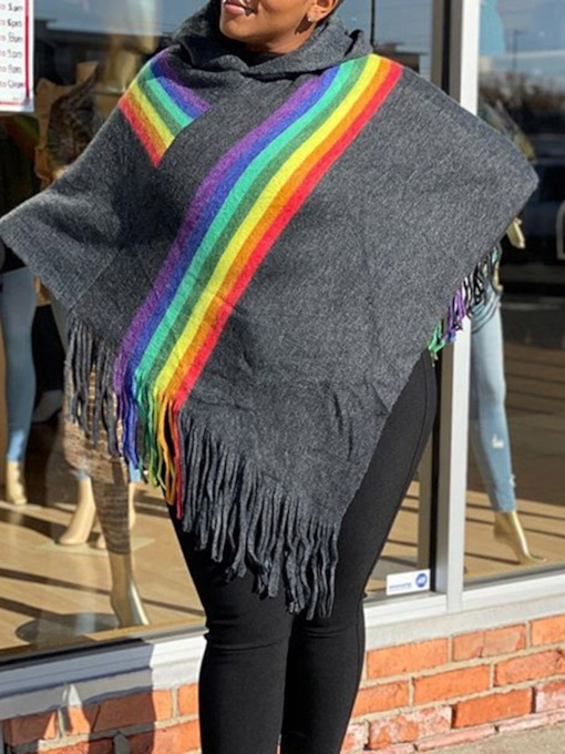 Polyester Rainbow Casual Stripe Women's Cape