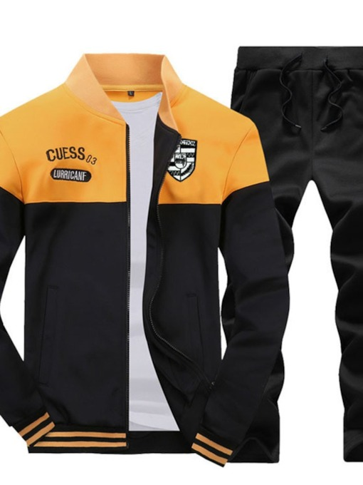 Zipper Jacket Sports Block Men's Outfit