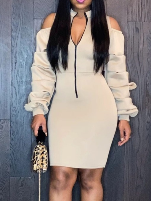 Above Knee Stand Collar Pleated Long Sleeve Spring Women's Dress