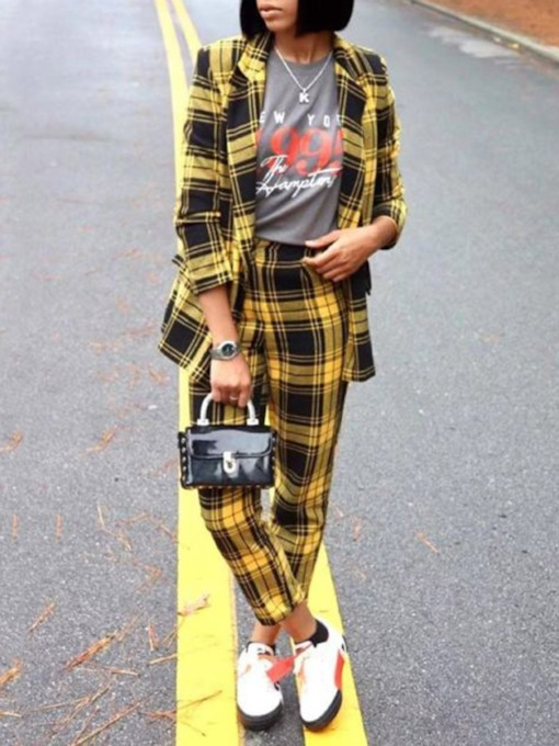 Casual Plaid Coat and Pencil Pants Women's Two Piece Sets