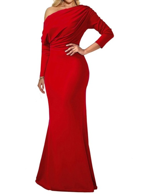 Long Sleeve Floor-Length Pleated Plain Women's Dress