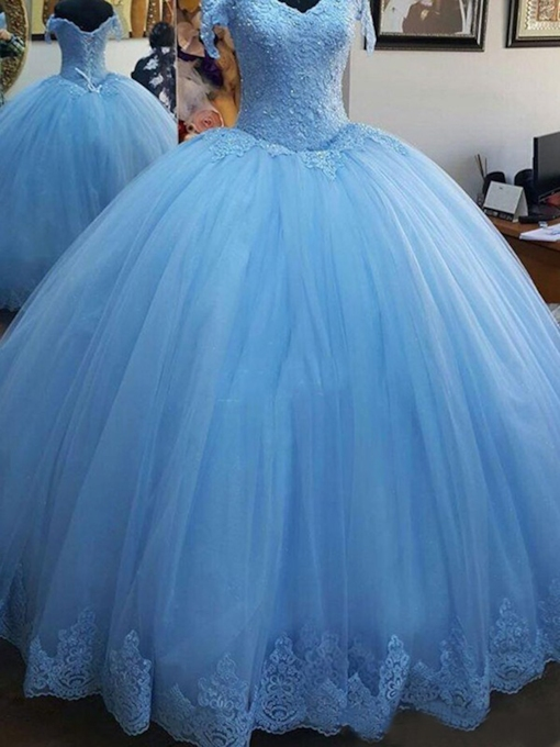 Applikationen off-the-Shoulder-Ballkleid bodenlangen Quinceanera Kleid 2020
