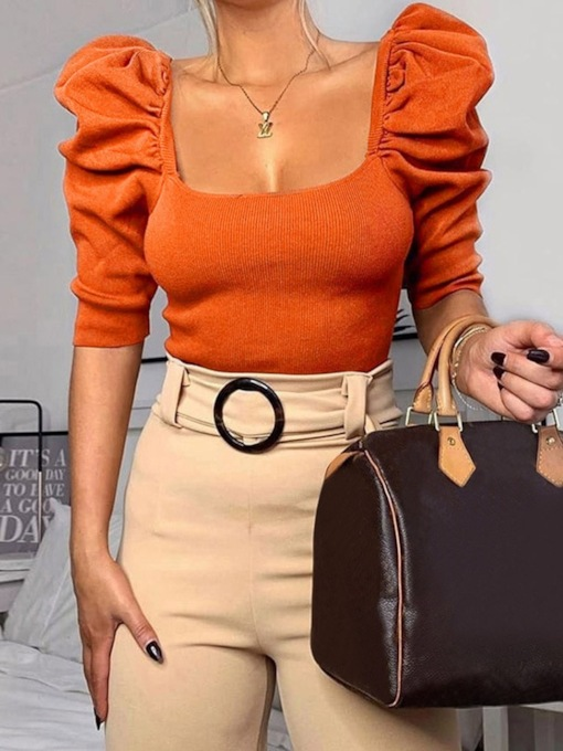 Puff Sleeve Big Collar Half Sleeve Women's Sweater