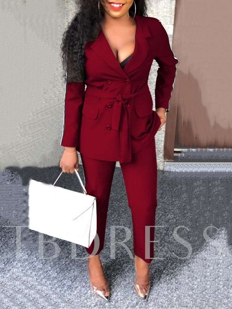 Casual Lace-Up Office Lady Double-Breasted Women's Two Piece Sets