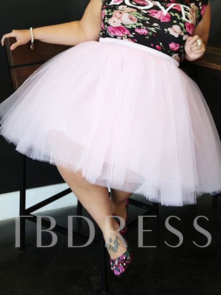 Plus Size Plain Ball Gown Mid-Calf Mesh Casual Women's Skirt