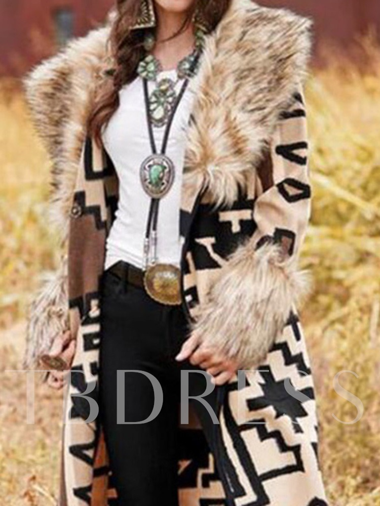 Fashion Faux Fur Collar Long Patchwork Women's Trench Coat