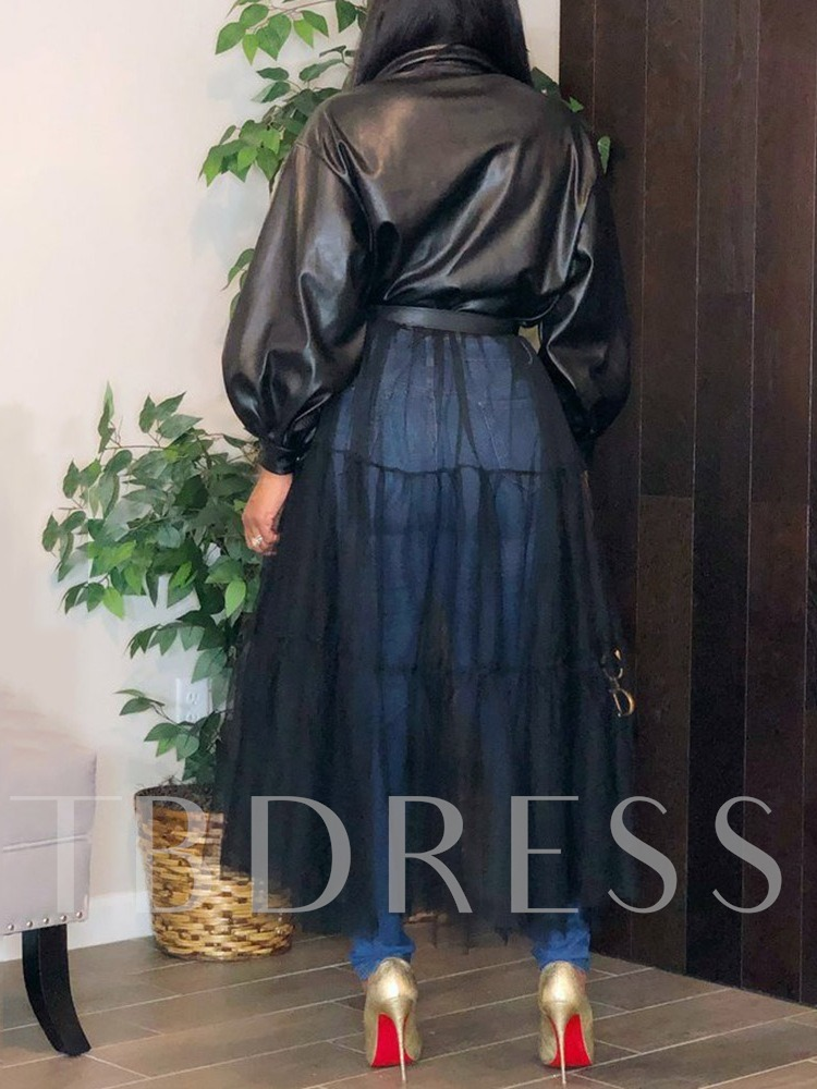 Fashion Chiffon Long Dress Loose Women's PU Jacket