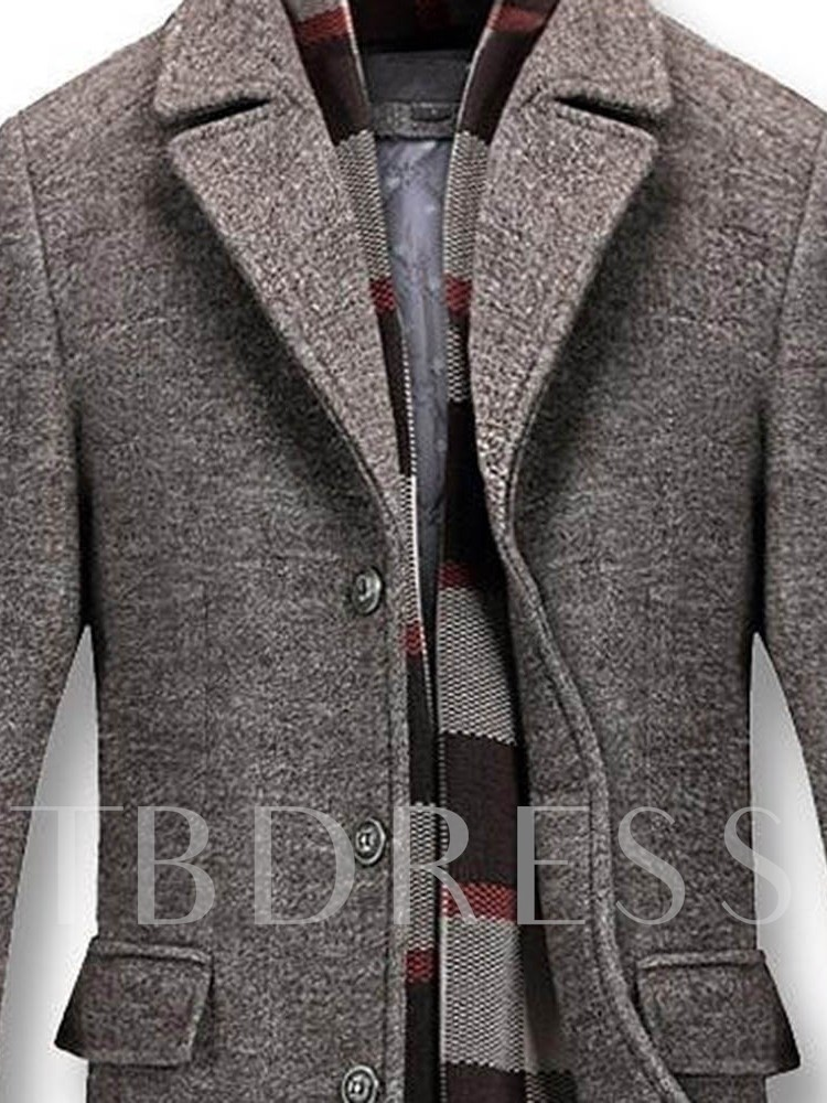 Mid-Length Button Style Casual Men's Coat