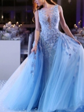 Ball Gown Appliques Scoop Neck Blue Prom Dress 2020