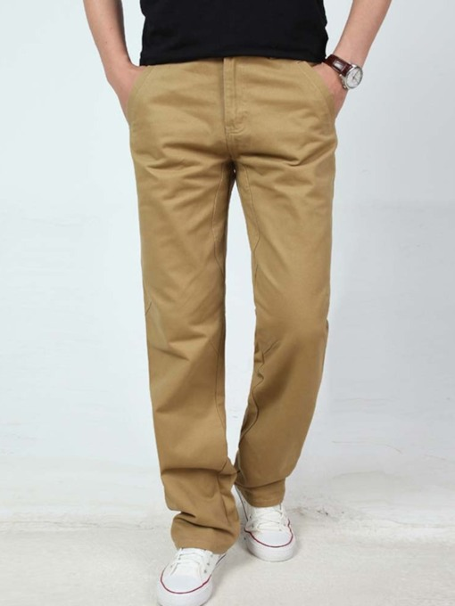 Straight Plain Color Pocket Fall Style Men's Casual Pants
