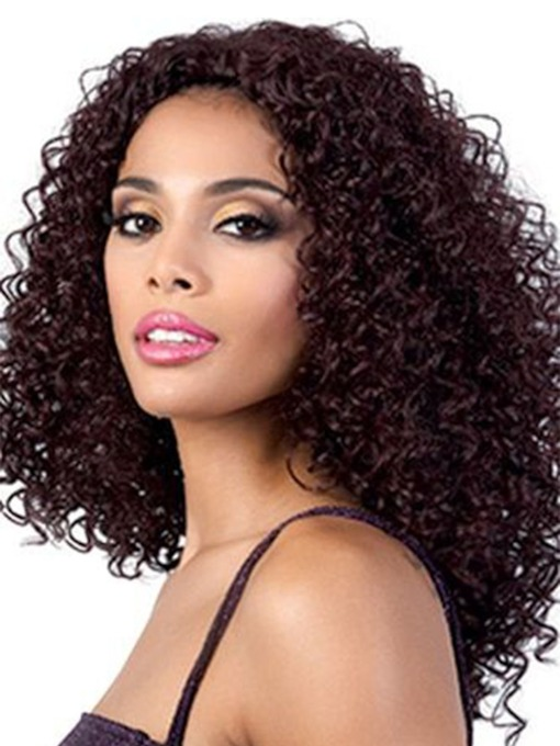 Women's Long Length Hairstyles Afro Curly Synthetic Hair Wigs Kinky Curly Capless Wigs 20Inch