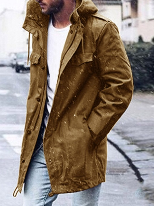 Zipper Hooded Plain Color Mid-Length Style Men's Trench Coat