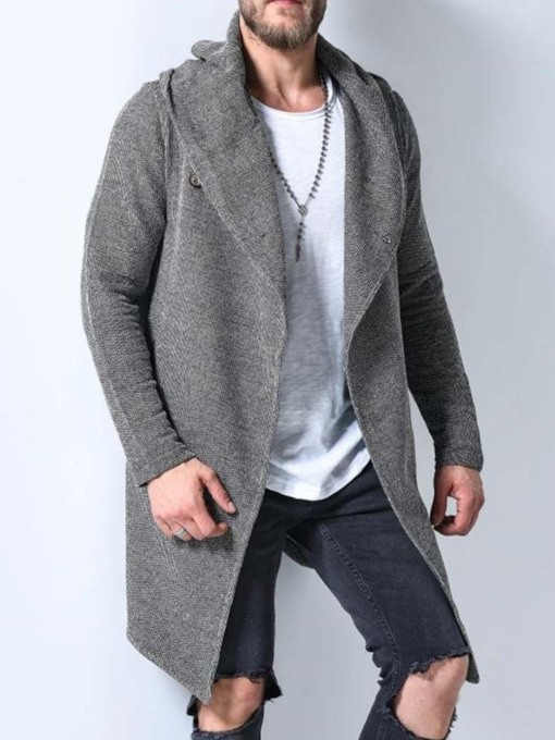 Mid-Length Hooded Plain Color A Line Style Men's Coat