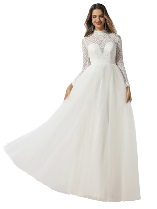 High Neck Backless Long Sleeves Lace Wedding Dress 2020