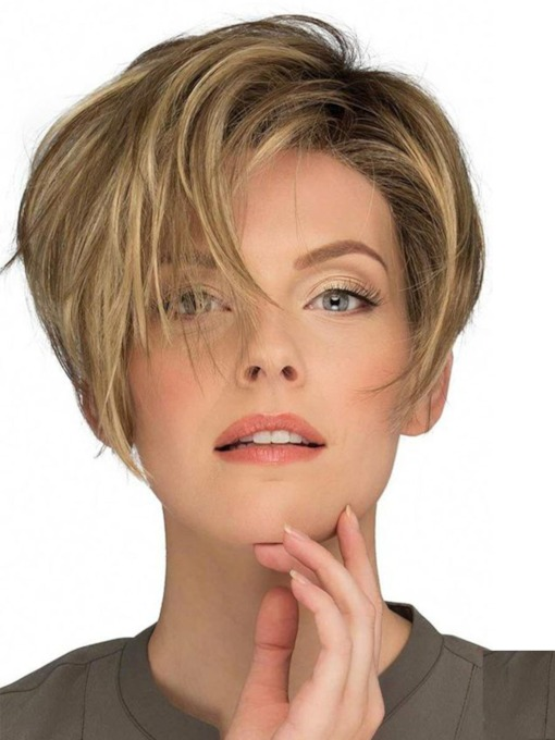 Fashion Women's Pixie Cut Side Part Bnags Hairstyles Synthetic Hair Wigs Natural Straight Capless Wigs 10Inch