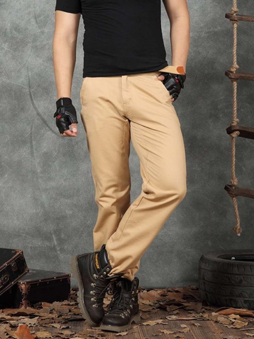 Plain Color Pocket Straight Fall Style Men's Casual Pants