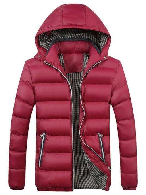 Plain Color Patchwork Hooded Korean Style Men's Down Jacket