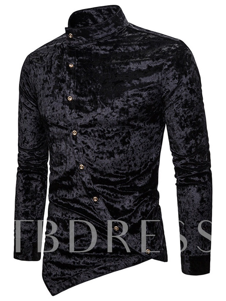Plain Stand Collar Casual Asymmetric Single-Breasted Men's Shirt