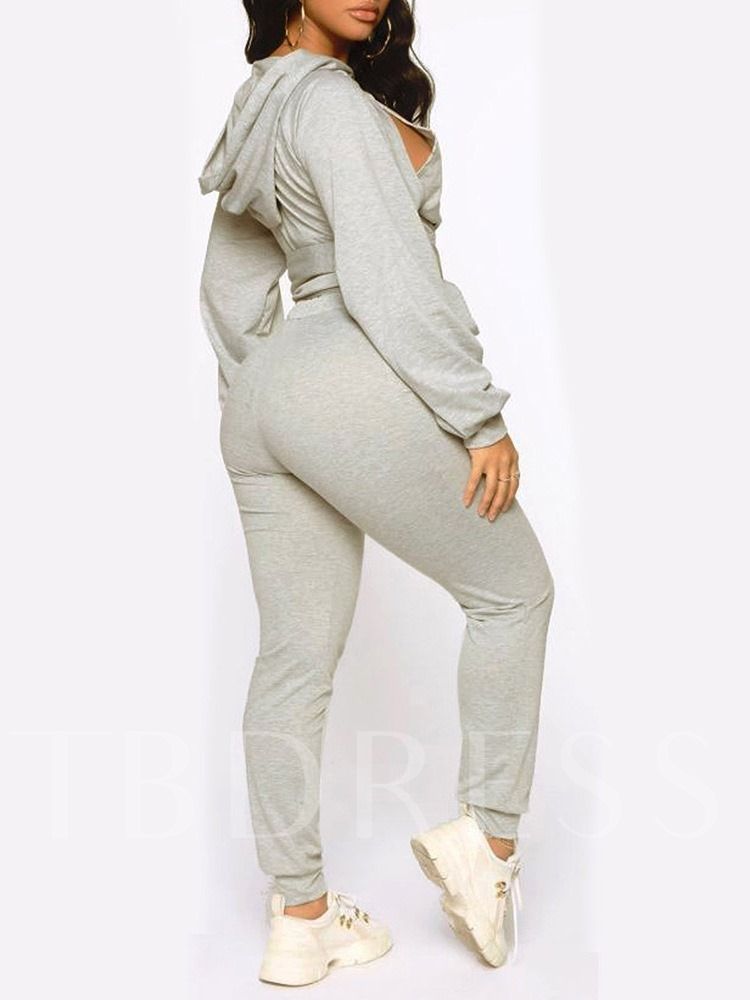 Lace-Up Casual Plain Pullover Women's Two Piece Sets