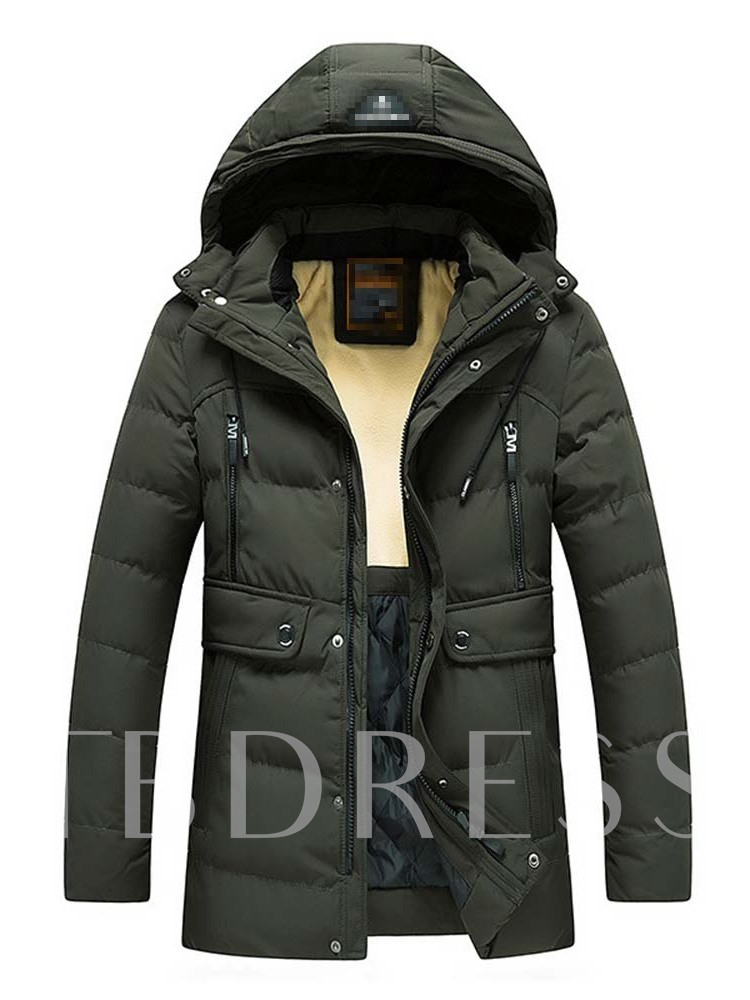 Plain Color Patchwork Hooded European Men's Down Jacket