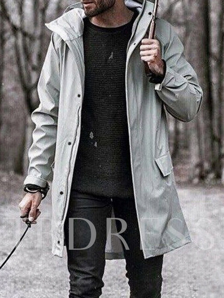Hooded Long Style Plain Color Loose Men's Trench Coat