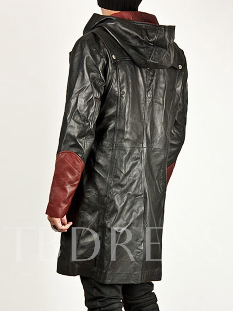 Mid-Length Hooded Color Block Pocket Men's Leather Jacket