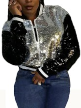 Straight Sequins Zipper Short Women's Jacket