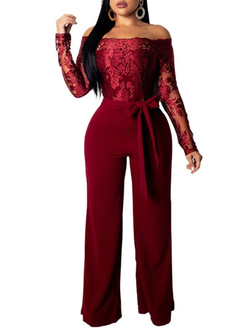 Off Shoulder Full Length Casual Plain Lace-Up Straight Women's Jumpsuit