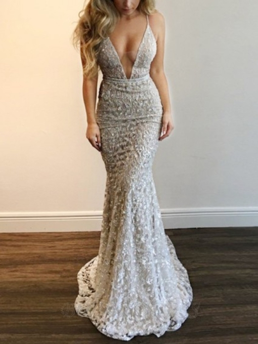 Spaghetti Straps Mermaid Lace Evening Dress 2020
