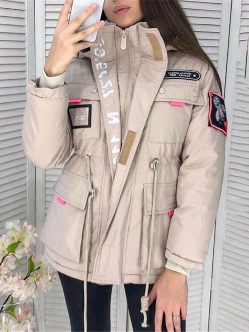 Zipper Pocket Straight Thick Mid-Length Women's Cotton Padded Jacket