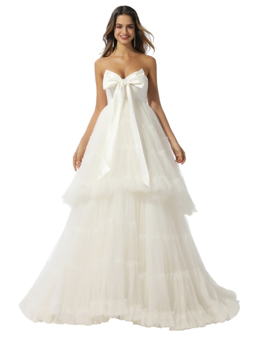 Strapless Bowknot Tiered Ball Gown Wedding Dress 2020